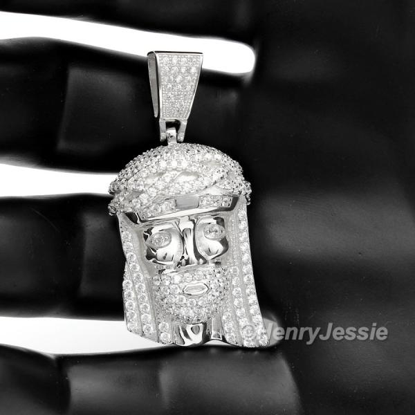 MEN 925 STERLING SILVER LAB DIAMOND ICED BLING JESUS FACE CHARM PENDANT*SP7