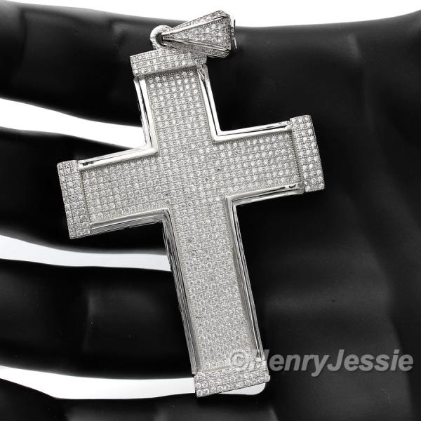 MEN 925 STERLING SILVER LAB DIAMOND ICED OUT BLING CROSS CHARM PENDANT*SP14