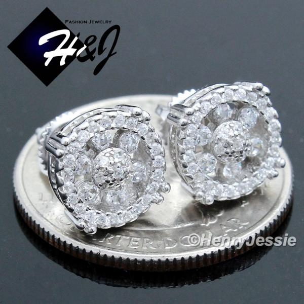 MEN 925 STERLING SILVER 9MM LAB DIAMOND BLING ROUND SCREW BACK STUD EARRING*SE100