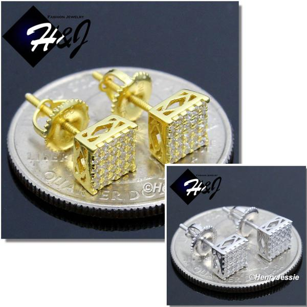 MEN 925 STERLING SILVER 6MM LAB DIAMOND SILVER/GOLD STUD SCREW BACK EARRING*GE/SE135