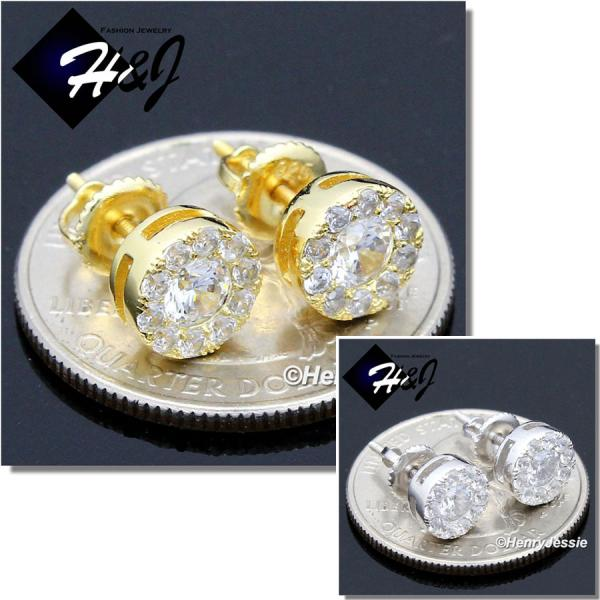 MEN 925 STERLING SILVER 8MM ICED SILVER/GOLD ROUND SCREW BACK STUD EARRING*GE/SE143