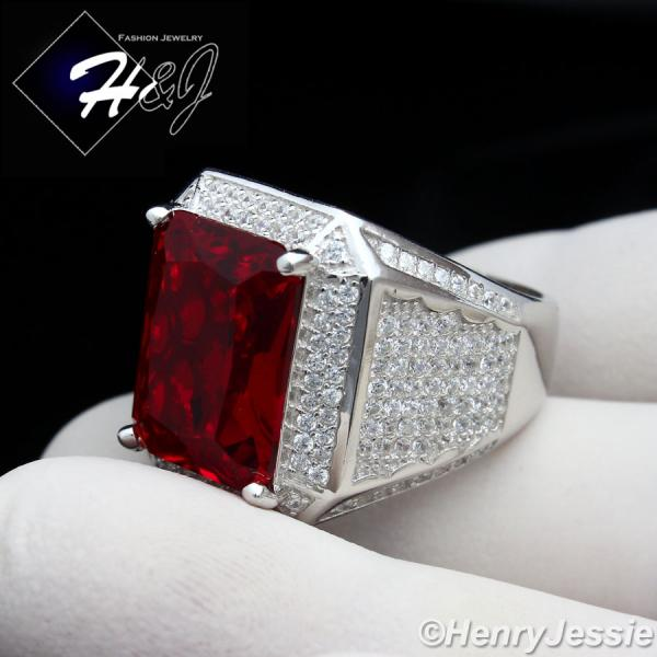 MEN 925 STERLING SILVER LAB DIAMOND ICED OUT BLING RUBY RING*SR48