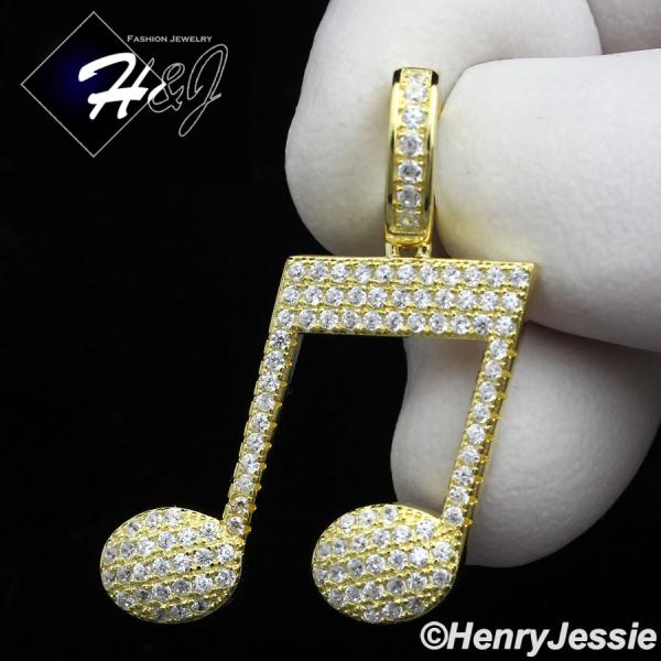 MEN WOMEN 925 STERLING SILVER LAB DIAMOND GOLD ICED OUT MUSIC NOTE PENDANT*GP153