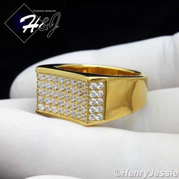 MEN's Stainless Steel 1.8 Carat CZ Iced Out Bling Gold Tone Ring Size 8-13*R82