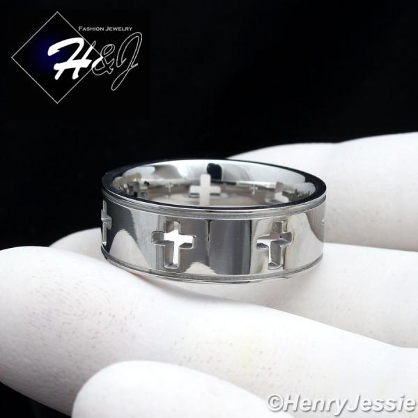 MEN Stainless Steel 7mm Silver Hollow Design Cross Band Ring Size 8-13*R85