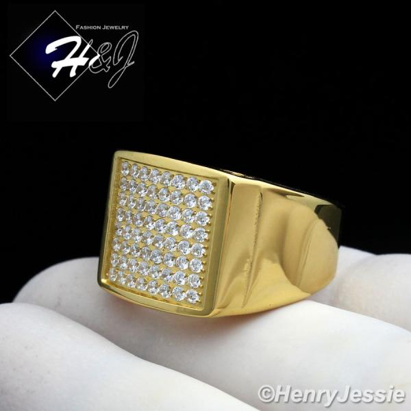 MEN Stainless Steel 1.92 Carat CZ Iced Out Bling Gold Tone Ring Size 8-13*GR87