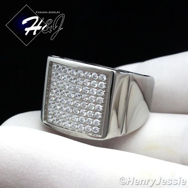 MEN's Stainless Steel Silver 1.92 Carat CZ Iced Out Bling Ring Size 8-13*R87