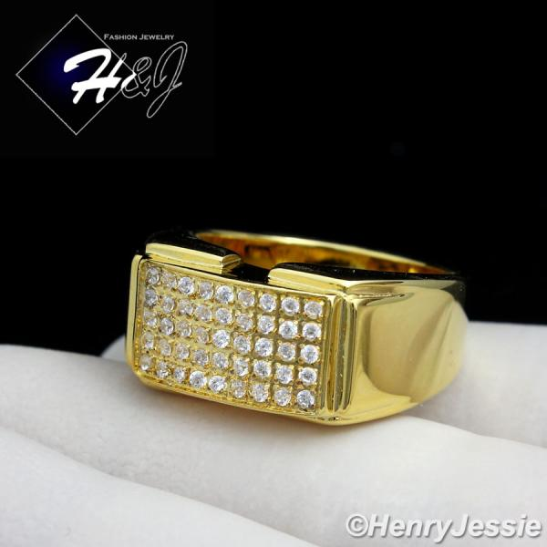 MEN's Stainless Steel Iced Out Bling Gold Rectangle Ring Size 7-13*GR105