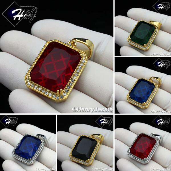 MEN Stainless Steel Gold/Silver ICED Green/Blue/Black Onyx/Ruby Charm Pendant*P103