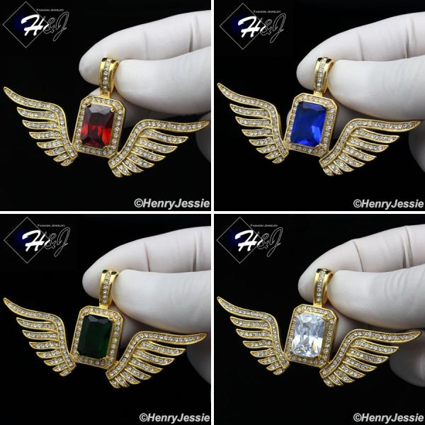 MEN's Stainless Steel ICED Bling Green/Blue/Clear/Ruby Wing Charm Pendant*P108