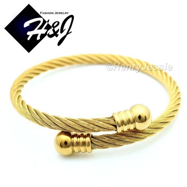 MEN WOMEN Stainless Steel Gold Twisted Cable Adjustable Cuff Bangle Bracelet*GB57