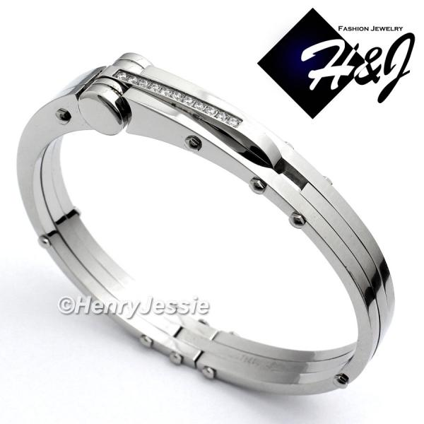 MEN's Stainless Steel 0.33 Carat Pave CZ Silver Bangle/Handcuff Bracelet*B12