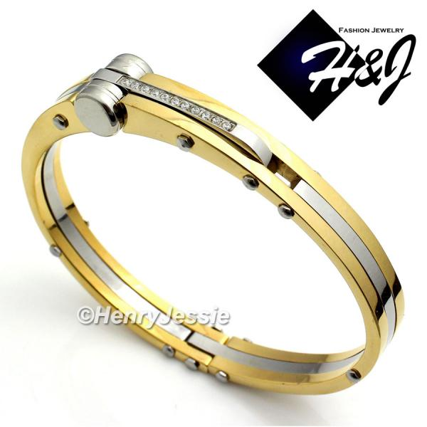 MEN Stainless Steel 0.33 Carat Pave CZ Gold/Silver Bangle/Handcuff Bracelet*GB12
