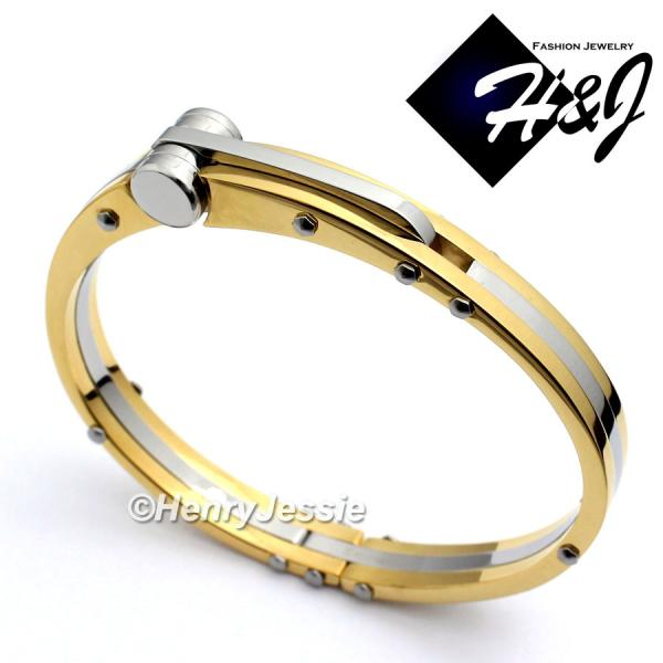 MEN's Stainless Steel Silver/Gold Simple Plain Bangle/Handcuff Bracelet*GB13