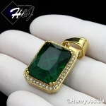 MEN Stainless Steel Gold/Silver ICED Green/Blue/Black Onyx/Ruby Charm Pendant*P98
