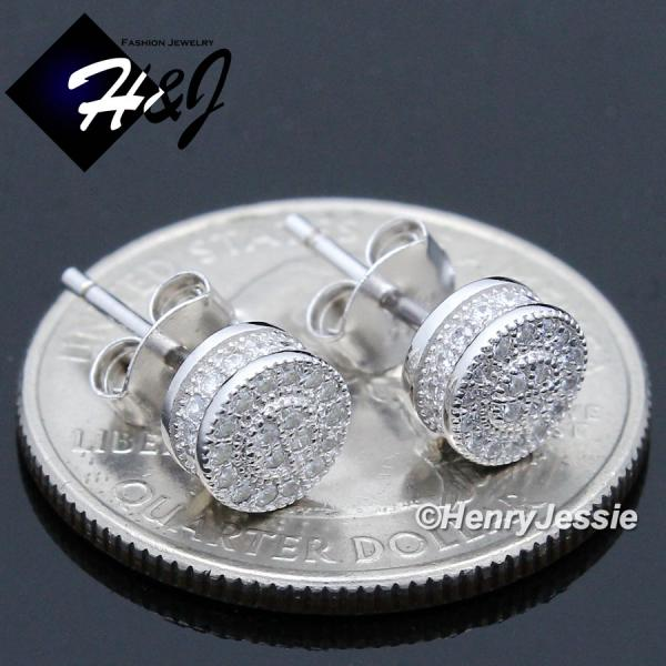 MEN WOMEN 925 STERLING SILVER LAB DIAMOND 6MM ICED ROUND 3D STUD EARRING*E133