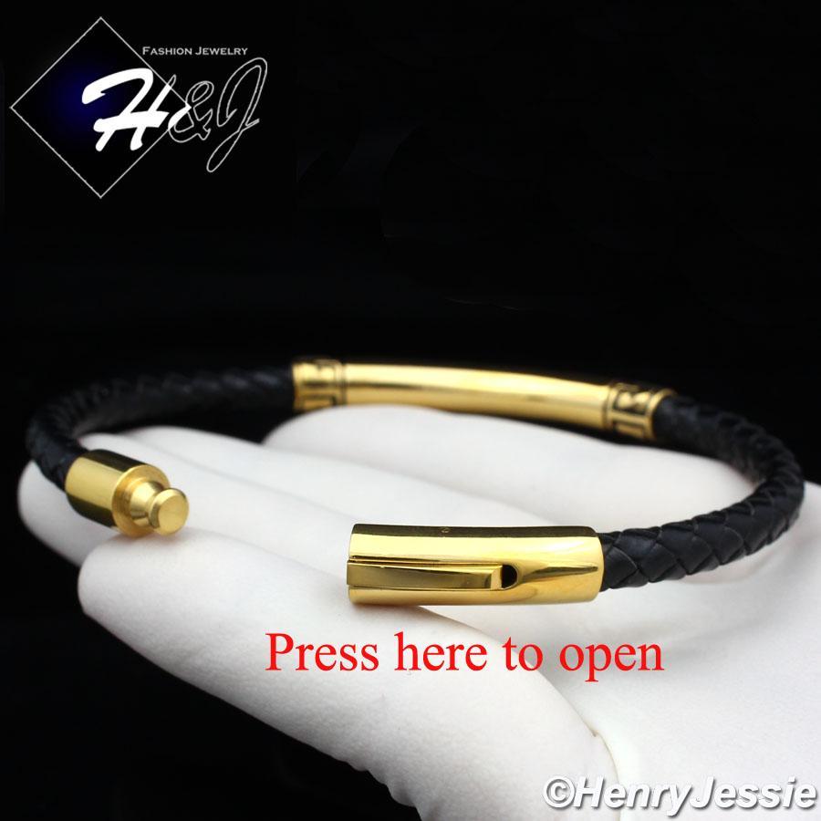 """8.25/""""MEN WOMEN Stainless Steel Silver//Black Greek Key Leather Bracelet*SB93"""