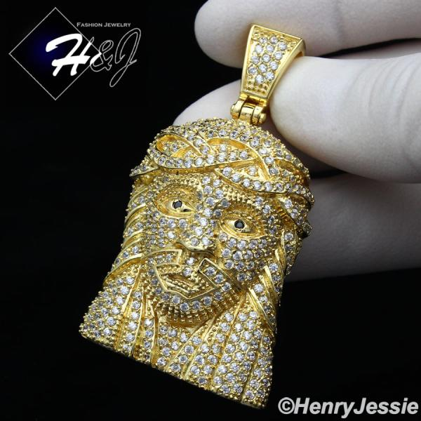 MEN STAINLESS STEEL LAB DIAMOND ICED OUT BLING GOLD 3D JESUS FACE PENDANT*IGP12