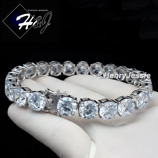 "8.5""MEN 925 STERLING SILVER 6MM/7MM/8MM/9MM ICED OUT BLING 1 ROW TENNIS CHAIN BRACELET*SB1"