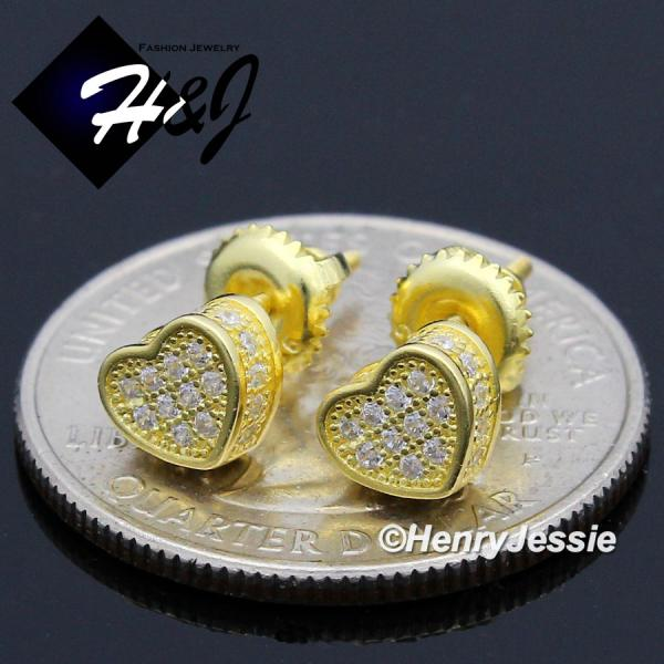 Men Women 925 STERLING SILVER GEMSTONE HEART SHAPE GOLD SCREW BACK STUD EARRING*GE139