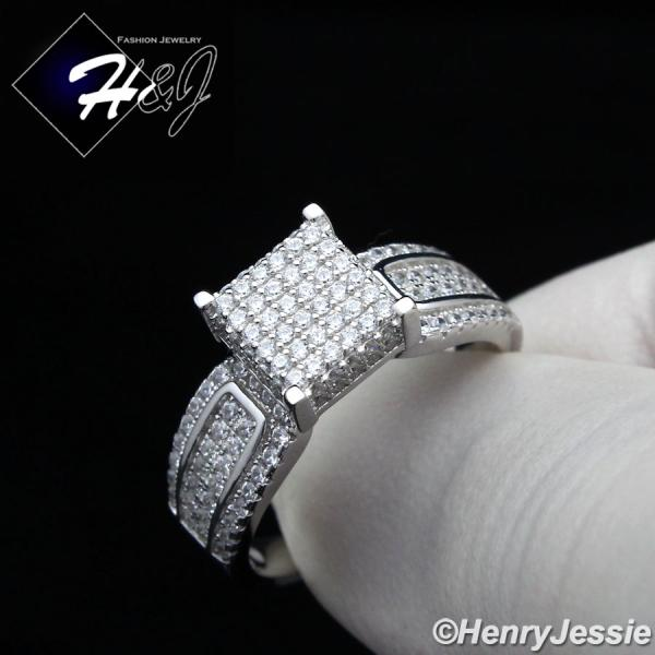 WOMEN 925 STERLING SILVER ICED OUT BLING 8MM ENGAGEMENT RING SIZE 6-9*SR81
