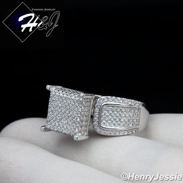 WOMEN 925 STERLING SILVER ICED OUT BLING 11MM ENGAGEMENT RING SIZE 6-9*SR82