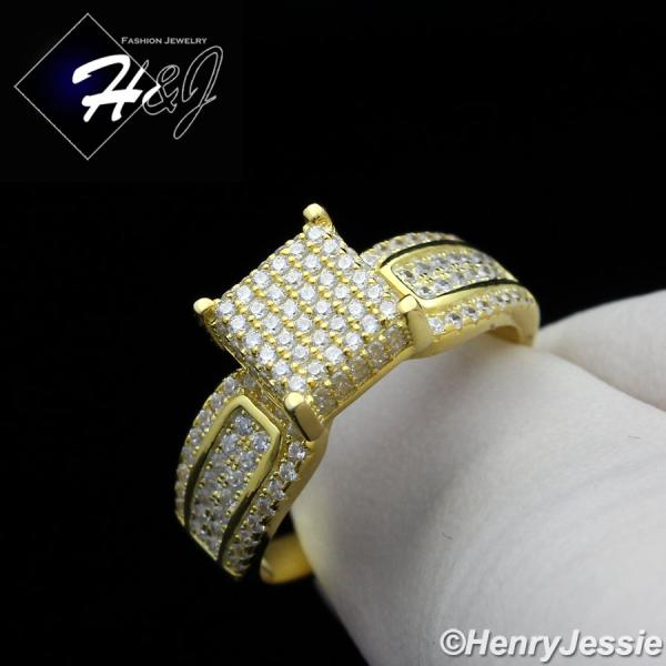 WOMEN 925 STERLING SILVER ICED OUT BLING 8MM GOLD ENGAGEMENT RING SIZE 6-9*GR81