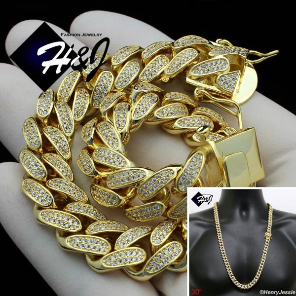 "30""MEN 14K GOLD FINISH 12MM ICED OUT BLING MIAMI CUBAN CURB CHAIN NECKLACE*BGN1"