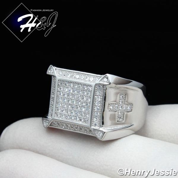 MEN 925 STERLING SILVER LAB DIAMOND ICED BLING CROSS RING*SR74