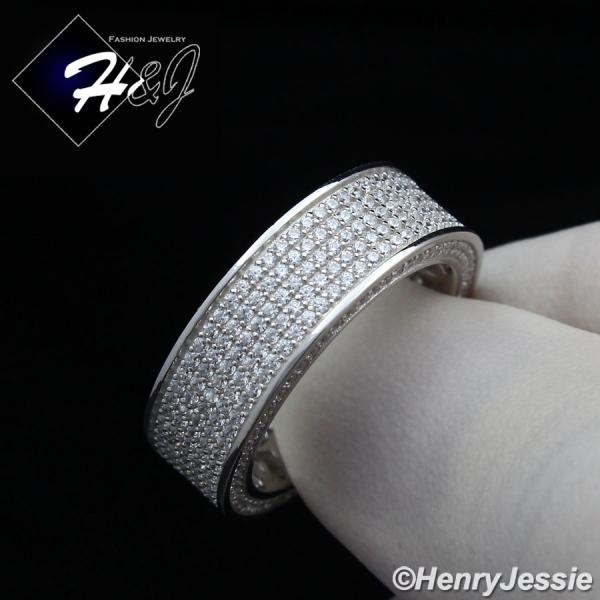 MEN WOMEN 925 STERLING SILVER FULL LAB DIAMOND ICED BLING WEDDING BAND RING*SR80