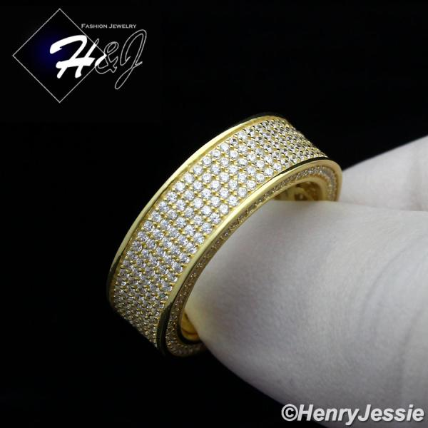 MEN WOMEN 925 STERLING SILVER FULL LAB DIAMOND ICED BLING GOLD WEDDING BAND RING*GR80