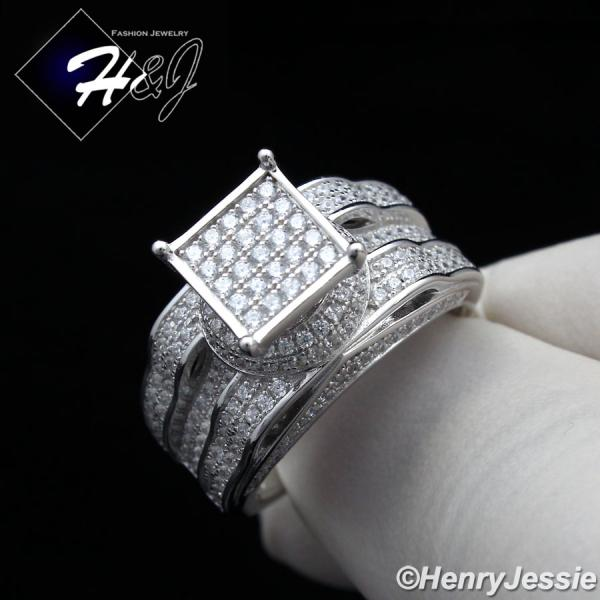 WOMEN 925 STERLING SILVER ICED OUT BLING ENGAGEMENT RING SIZE 6-10*SR86