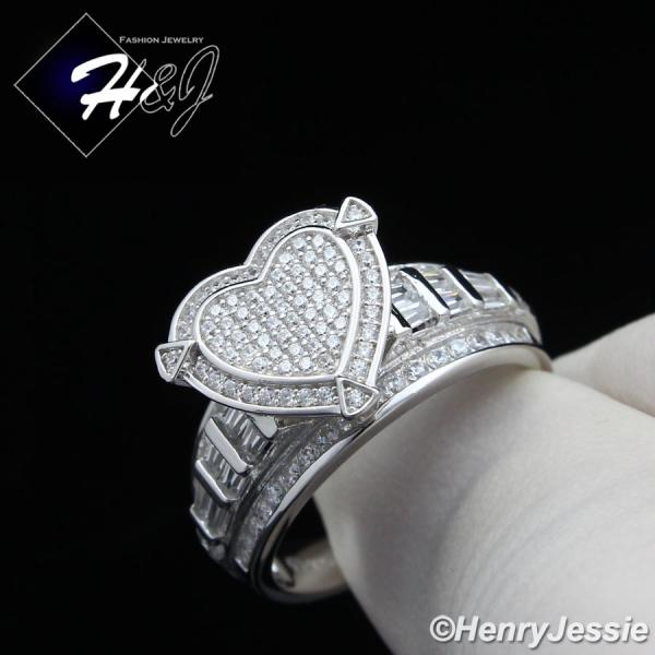 WOMEN 925 STERLING SILVER ICED BLING HEART SHAPE ENGAGEMENT RING SIZE 6-9*SR88