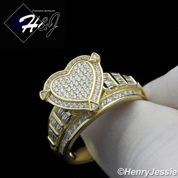 WOMEN 925 STERLING SILVER ICED BLING GOLD HEART SHAPE ENGAGEMENT RING SIZE 6-9*GR88
