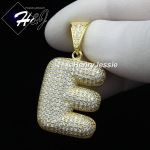 MEN WOMEN 925 STERLING SILVER LAB DIAMOND ICED GOLD 26 BUBBLE INITIAL LETTERS PENDANT*GP203