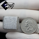 MEN 925 STERLING SILVER LAB DIAMOND ICED OUT BLING SQUARE RING*SR75