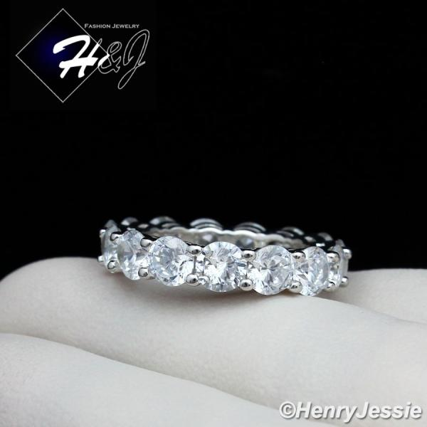 WOMEN 925 STERLING SILVER 4MM ICED BLING CZ WEDDING BAND RING*SR96