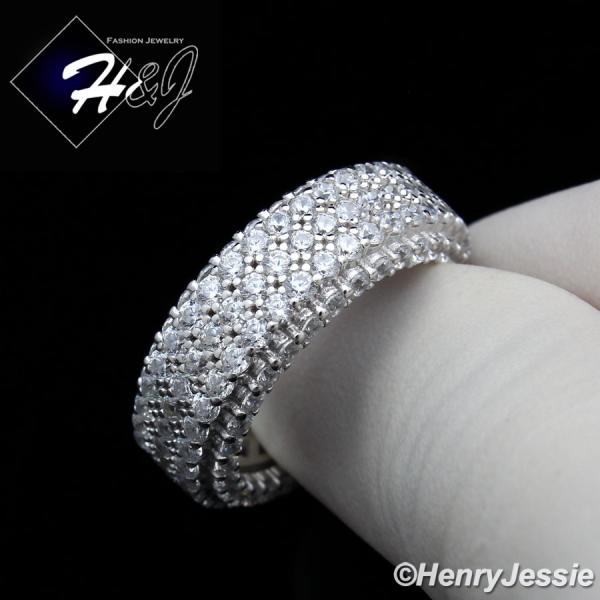 MEN 925 STERLING SILVER FULL ICED LAB DIAMOND 9MM WEDDING BAND RING*SR93