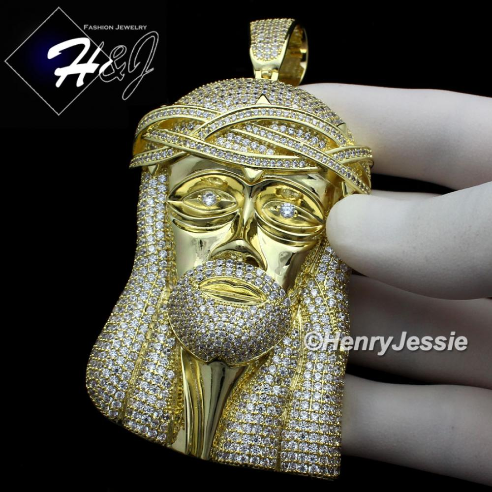 MEN 14K GOLD FINISH ICED OUT BLING OVERSIZE GOLD JESUS FACE CHARM PENDANT*BGP2