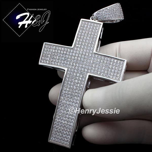 MEN 14K WHITE GOLD FINISH ICED OUT BLING OVERSIZE SILVER CROSS CHARM PENDANT*BP1
