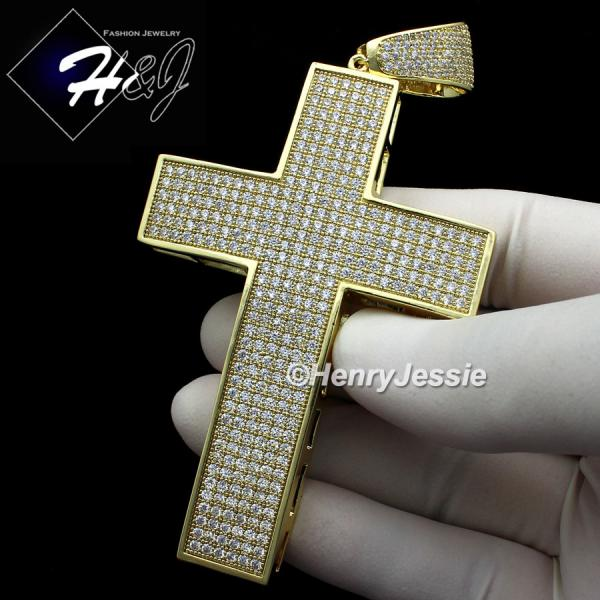 MEN 14K GOLD FINISH ICED OUT BLING OVERSIZE GOLD CROSS CHARM PENDANT*BGP1