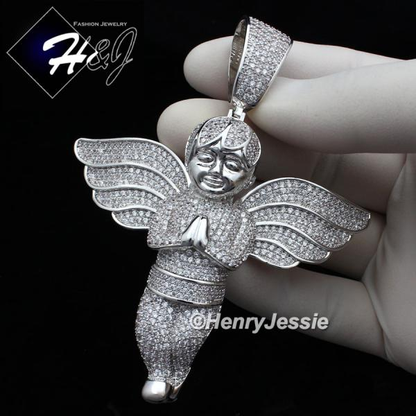 MEN 14K WHITE GOLD FINISH ICED OUT BLING OVERSIZE SILVER ANGEL WING PENDANT*BP3