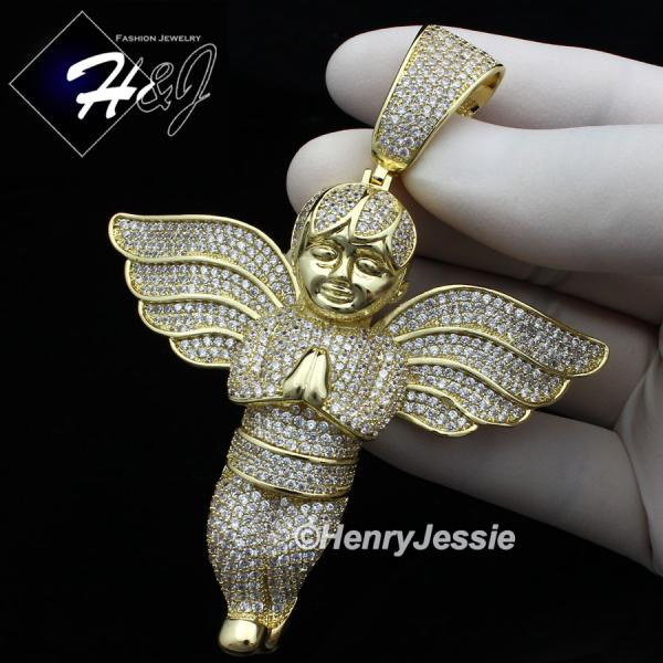 MEN 14K GOLD FINISH ICED OUT BLING OVERSIZE GOLD ANGEL WING PENDANT*BGP3