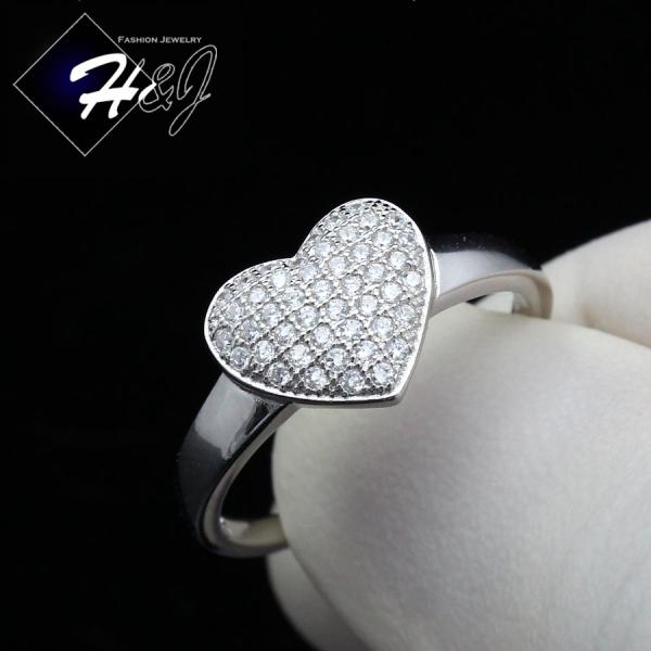 WOMEN 925 STERLING SILVER ICED BLING HEART SHAPE ENGAGEMENT RING SIZE 5-9*SR100