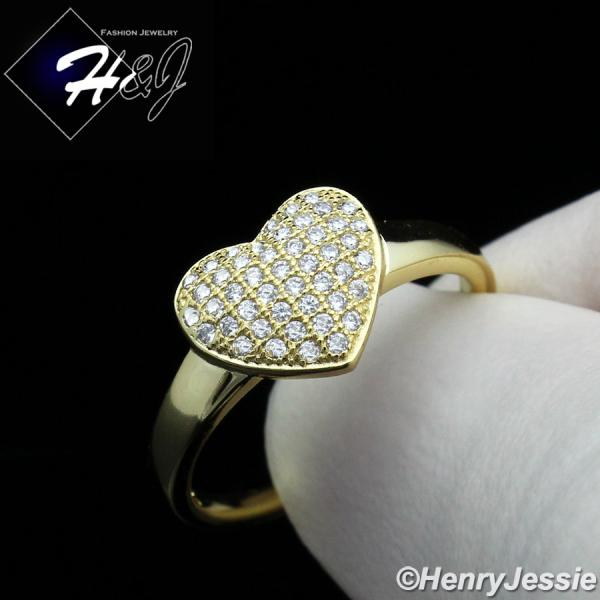 WOMEN 925 STERLING SILVER ICED BLING GOLD HEART SHAPE ENGAGEMENT RING SIZE 5-9*GR100
