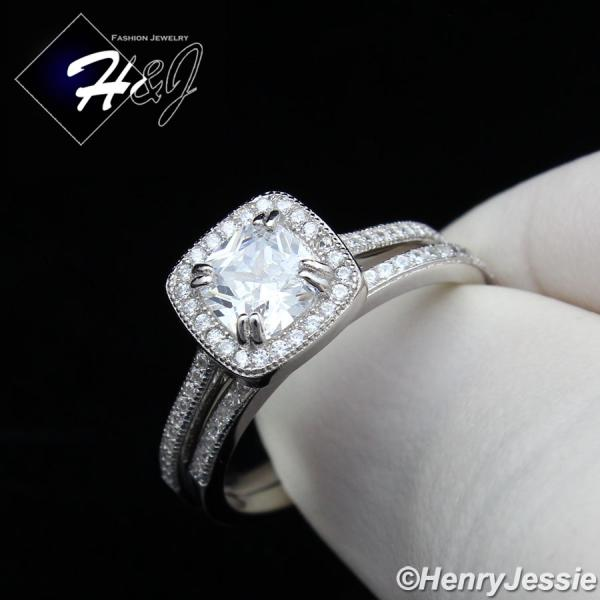WOMEN 925 STERLING SILVER ICED BLING SQUARE ENGAGEMENT RING SET SIZE 5-9*SR101
