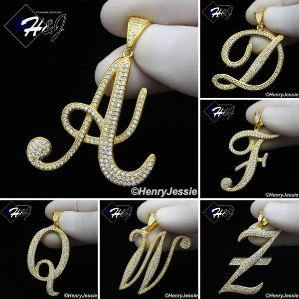 MEN 925 STERLING SILVER LAB DIAMOND ICED OUT BLING GOLD 26 INITIAL LETTERS CHARM PENDANT*GP220