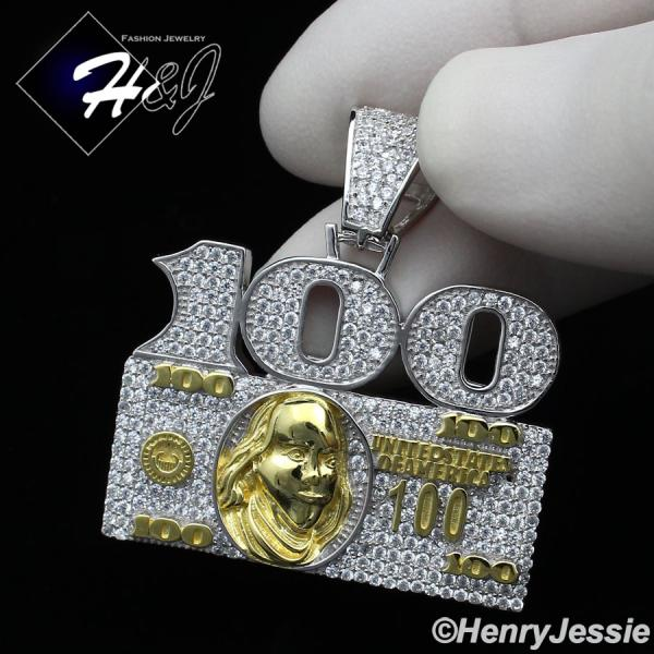 MEN 925 STERLING SILVER LAB DIAMOND ICED OUT BLING 100 DOLLAR BILL PENDANT*SP247