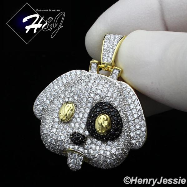 MEN 925 STERLING SILVER LAB DIAMOND ICED BLING BLACK/GOLD $ PUPPY PENDANT*SP249