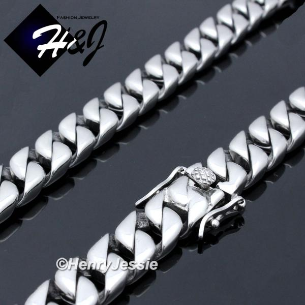 "7.5""-40""MEN Stainless Steel WIDE 12mm Silver Cuban Curb Link Chain Bracelet Necklace*N160"